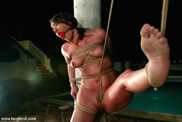 hogtied asian breast bondage